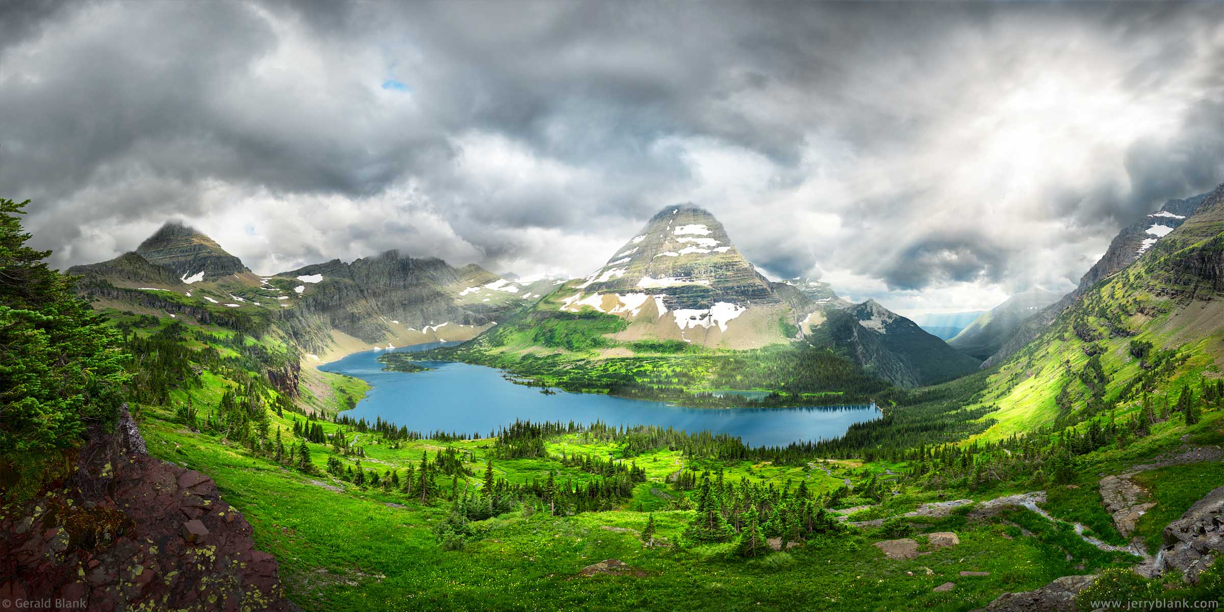 #24848 - A panoramic view of Hidden Lake in Glacier National Park, Montana, captured as afternoon clouds begin to envelop Bearhat Mountain and the ridge of the Continental Divide - photo by Jerry Blank