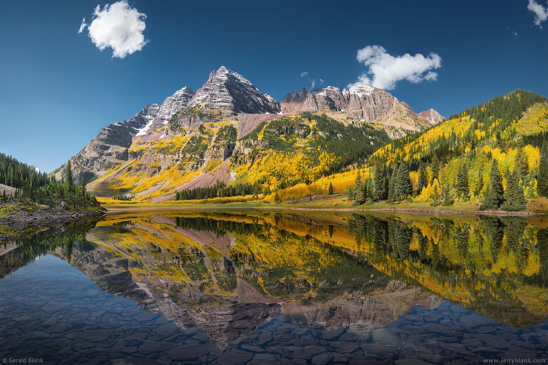 #41199 - Maroon Peak, flanked by autumn color, is reflected in the waters of Crater Lake, in Colorado's Maroon-Snowmass Wilderness Area - photo by Jerry Blank