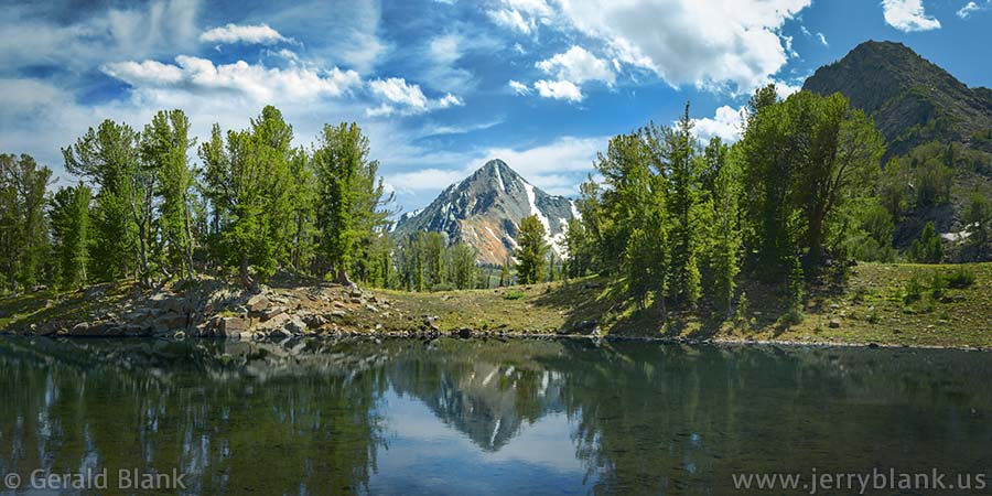 #08937 - Mount Jackson reflected in the Brannan Lakes, Tobacco Root Mountains, Montana - photo by Jerry Blank
