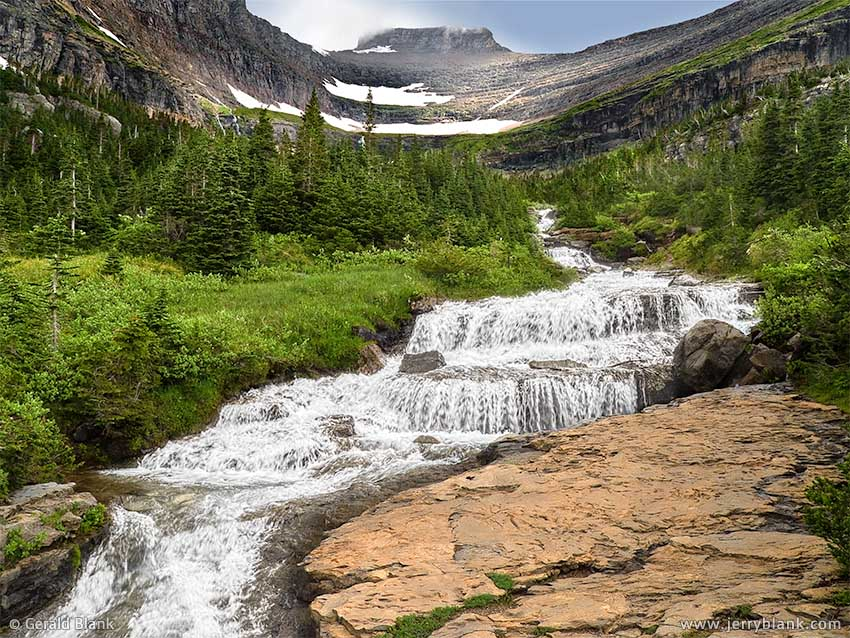 #00026 - Lunch Creek cascade and Pollock Mountain, Glacier National Park, Montana - photo by Jerry Blank