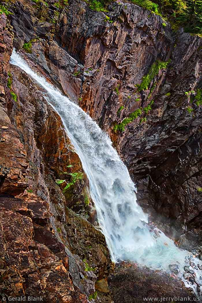 #06651 - Downward view of Bear Creek Falls, a scenic waterfall near US Hwy. 550, south of Ouray, Colorado - photo by Jerry Blank