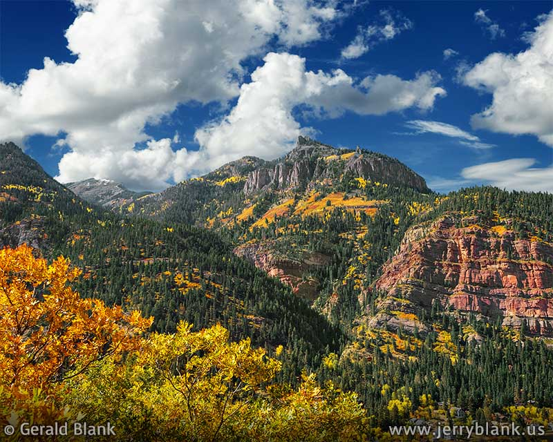 #06683 - A colorful autumn view looking southeast over Ouray, Colorado, toward Twin Peaks - photo by Jerry Blank