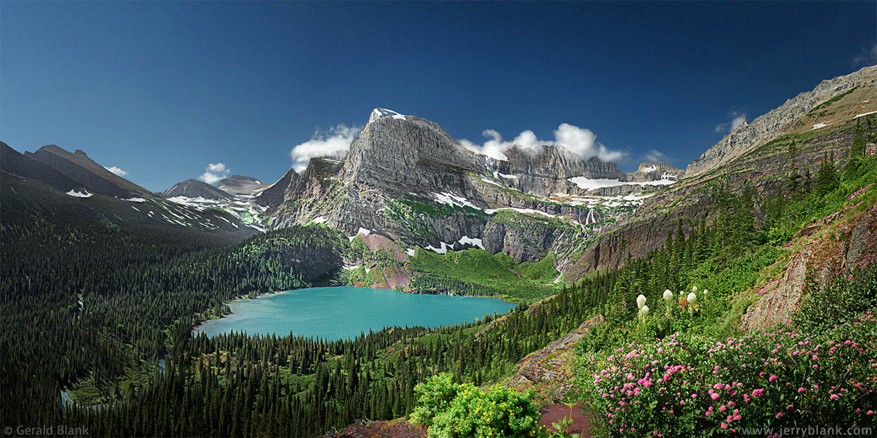 #25018 - A summer view looking south toward the Cataract Creek and Grinnell Glacier valleys in Glacier National Park, Montana. Angel Wing and Grinnell Lake are in the center of the photo - Photo by Jerry Blank