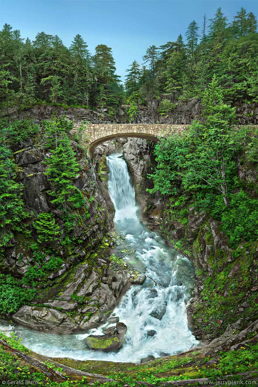 #32614 - An arched stonework bridge over scenic Christine Falls on Van Trump Creek, Mount Rainier National Park, Washington - photo by Jerry Blank