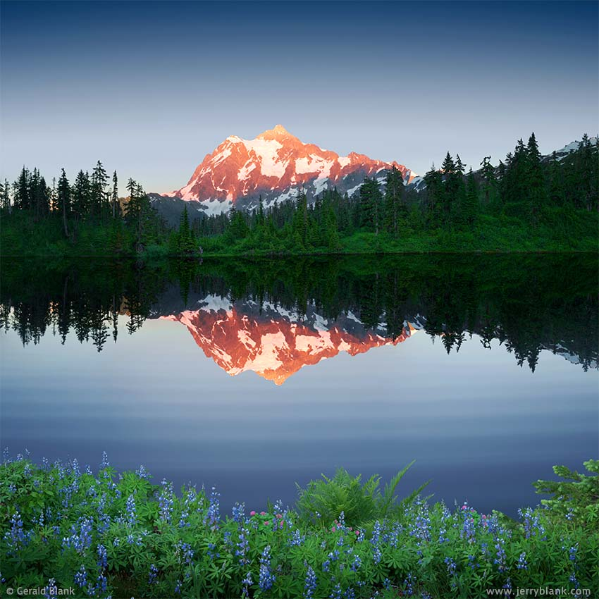 #35140 - The twilight alpenglow on Mount Shuksan is reflected in Highwood Lake, Washington, near the Mount Baker Scenic Highway