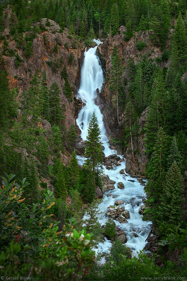 54745 - An evening view of scenic Fish Creek Falls, located in the Routt National Forest just outside Steamboat Springs, Colorado - photo by Jerry Blank